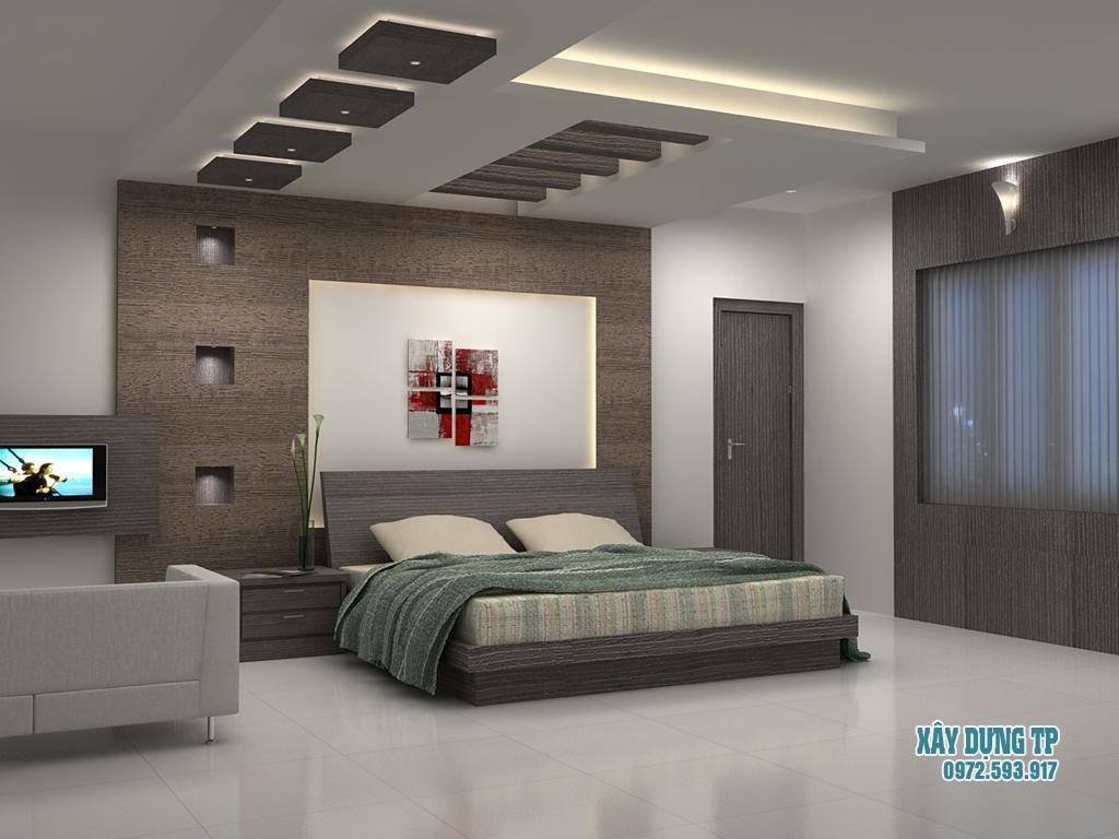Hình 2: Mẫu trần thạch cao phòng ngủ hiện đại
