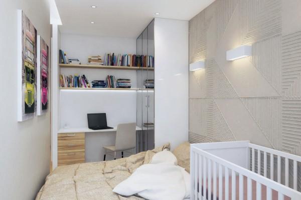 Phòng ngủ được thiết kế dành cho 2 vợ chồng và 1 con nhỏ