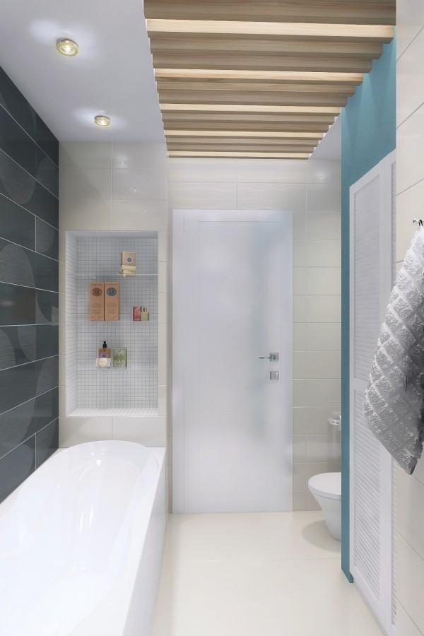 Phòng tắm cũng được thiết kế liền mạch tận dụng tối đa không gian nhỏ để có thể lắp nghép được bồn tắm, bồn rửa mặt và bồn cầu