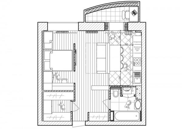 Mặt bằng vị trí các phòng của căn hộ chung cư 50m2