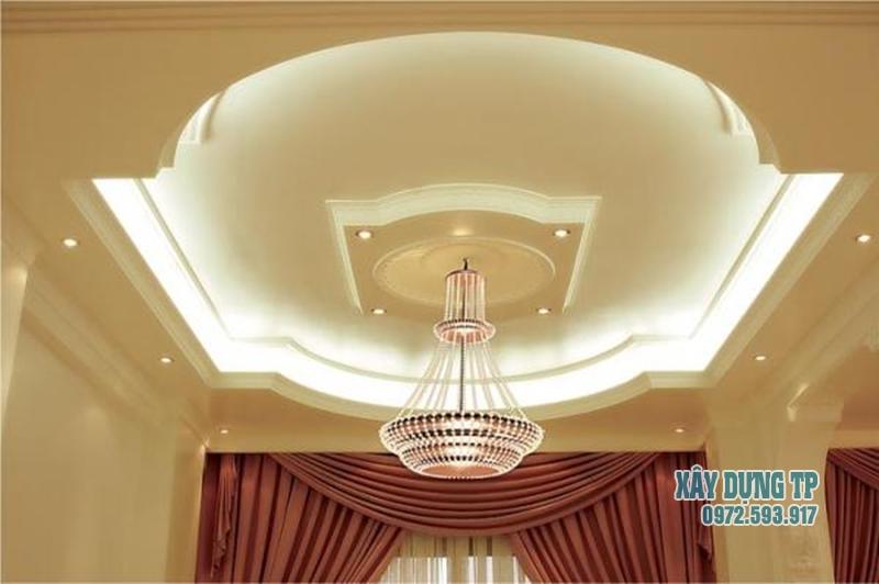 Trần thạch cao phòng khách cổ điển