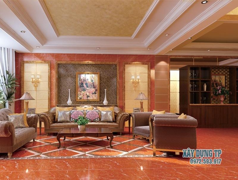Các mẫu trần thạch cao phòng khách cổ điển đẹp từ năm 2015. Ảnh 1