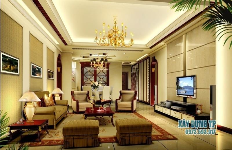 Các mẫu trần thạch cao phòng khách cổ điển đẹp từ năm 2015. Ảnh 8