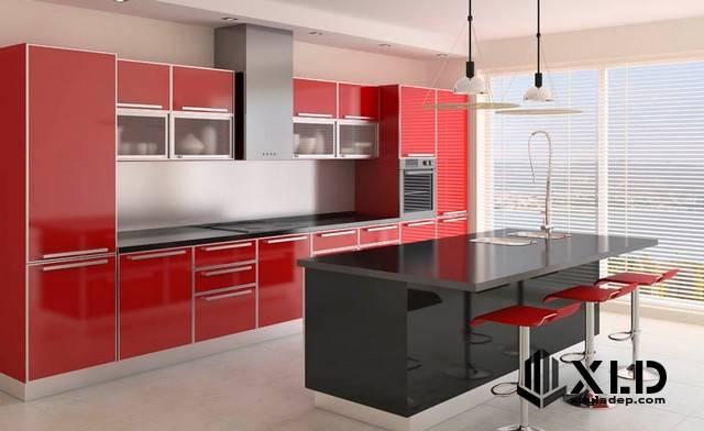 Tủ bếp acrylic nổi bật bởi vẻ đẹp hiện đại