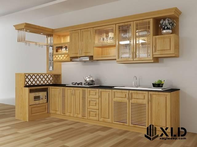 thiet-ke-tu-bep-go-tu-nhien Một số lưu ý trong thiết kế tủ bếp hiện đại