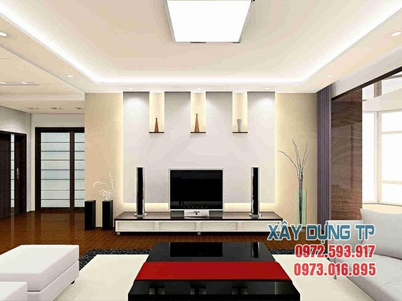 Mẫu 09: Trần thạch cao phòng khách hiện đại 2018