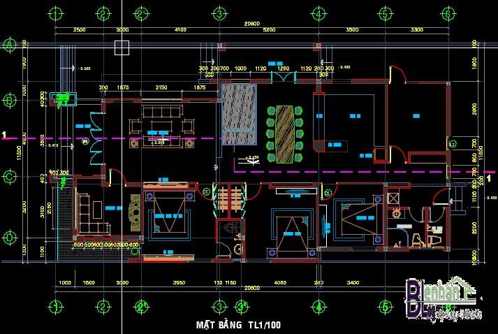 Bản thiết kế mẫu nhà cấp 4 đẹp 1 tầng diện tích 11,5m x 20,5 m