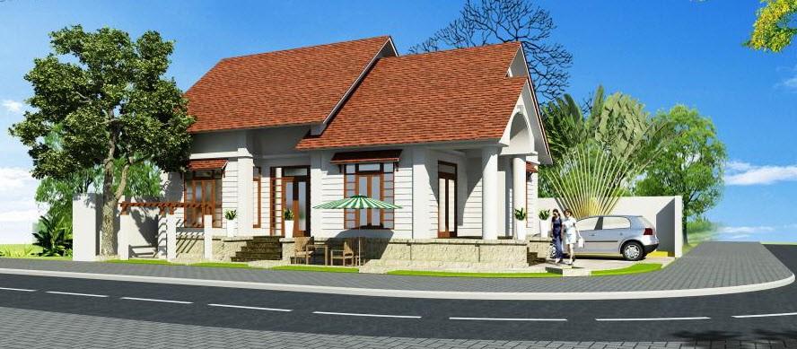 Phối cảnh kiến trúc căn nhà cấp 4 kết hợp phong cách cổ điển và hiện đại
