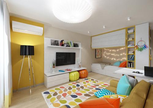 Thiết kế căn hộ 30m2 tươi sáng và màu sắc. Ảnh 1