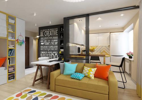 Thiết kế căn hộ 30m2 tươi sáng và màu sắc. Ảnh 2