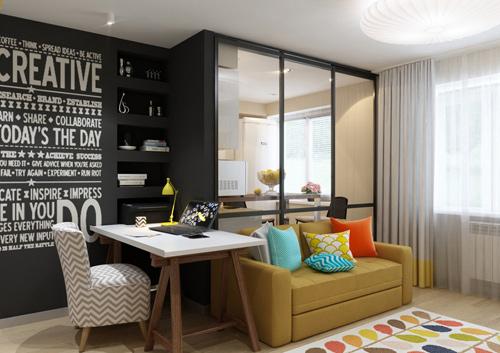 Thiết kế căn hộ 30m2 tươi sáng và màu sắc. Ảnh 3