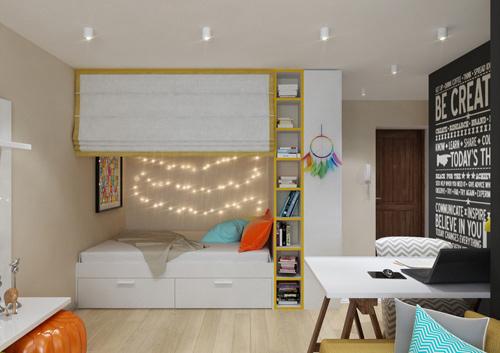 Thiết kế căn hộ 30m2 tươi sáng và màu sắc. Ảnh 4