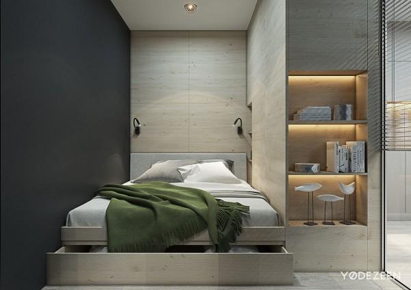 Không gian phòng ngủ cũng được rút gọn, tận dụng khoảng không dưới gầm giường làm nơi để đồ