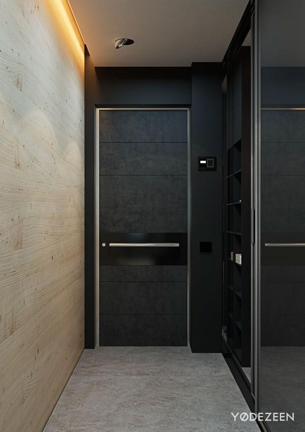 Đây chính là cửa vào của căn chung cư nhỏ với cánh cửa được thiết kế đơn giản nhưng hiện đại.
