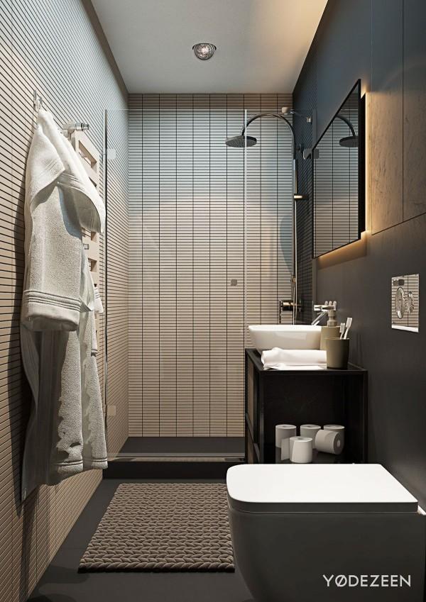 Các vân gạch ngang làm cho phòng tắm trở nên rộng hơn,