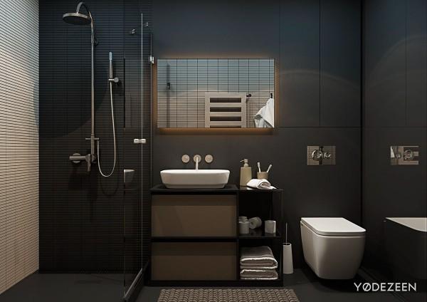 Bức tường được sơn phủ 1 lớp sơn nhám làm cho phòng tắm trở nên sang trọng hơn.