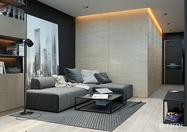 Dải đèn hắt trần thạch cao trong căn hộ chung cư 70m2