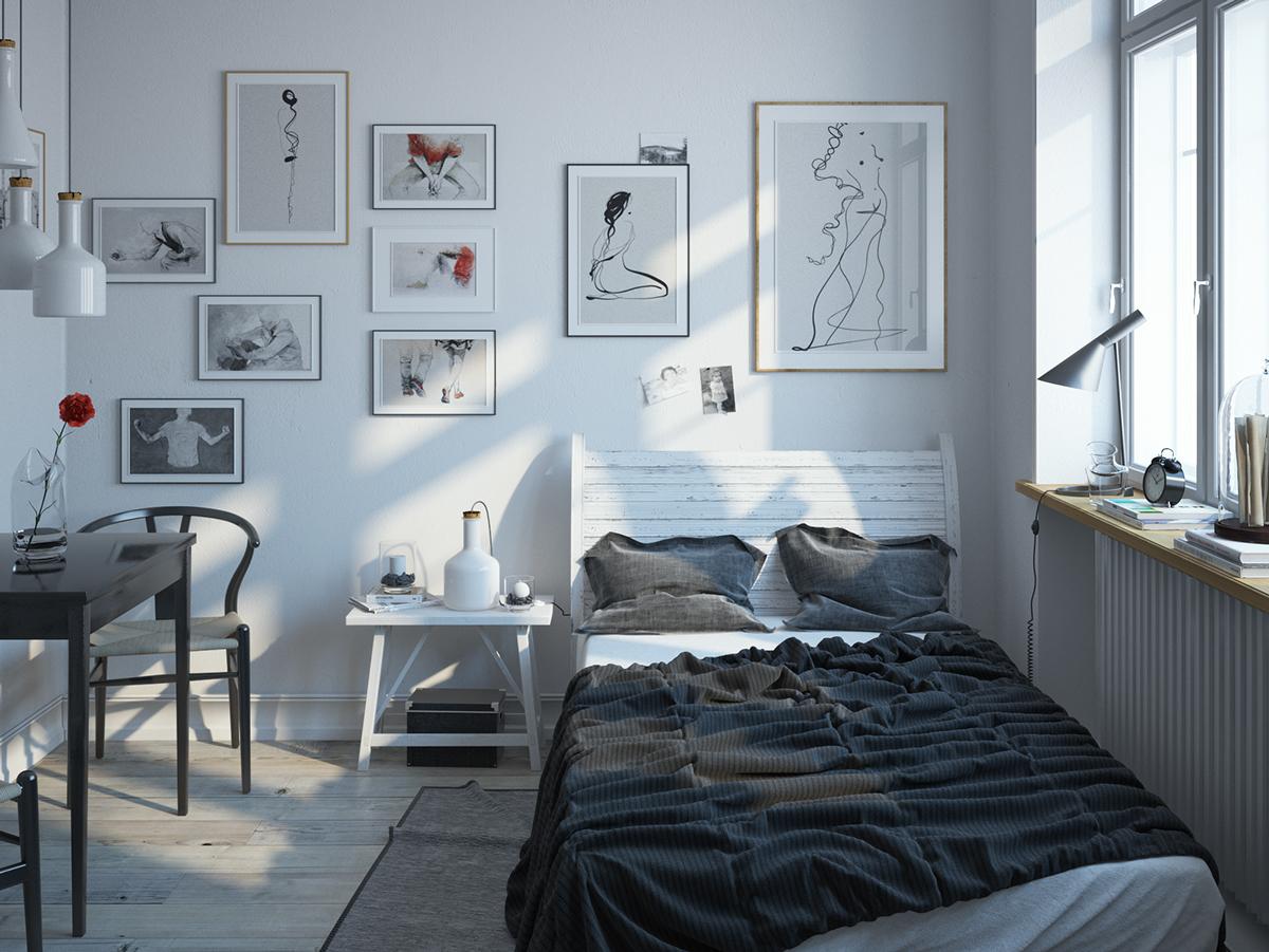 Bộ gối đệm màu tối cũng như các món đồ nội thất của phòng ngủ này toát lên 1 vẻ ấm cúng,