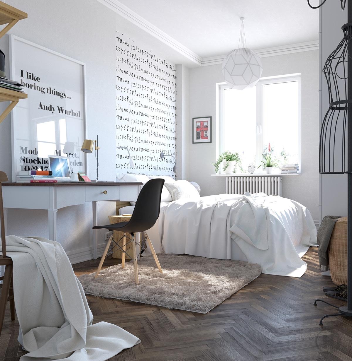 Căn phòng này được trang trí theo phong cách typographic hơn - các con chữ trên bức tường được thiết kế dường như tạo sự bí ẩn cho căn phòng.