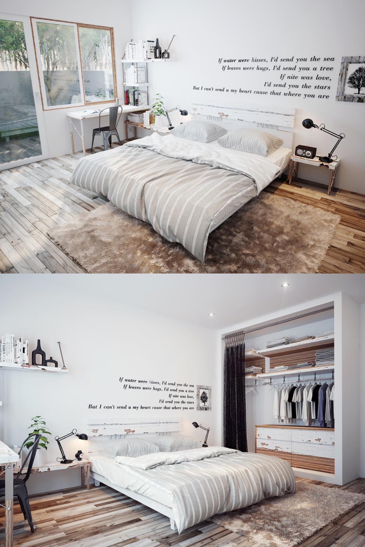 Phòng ngủ này được thiết kế bởi nhà thiết kế Hiếu Đoàn, với một dòng chữ decal lãng mạn như một liên lạc từ hiện đại vào với thiết kế phòng ngủ phong cách cổ điển.