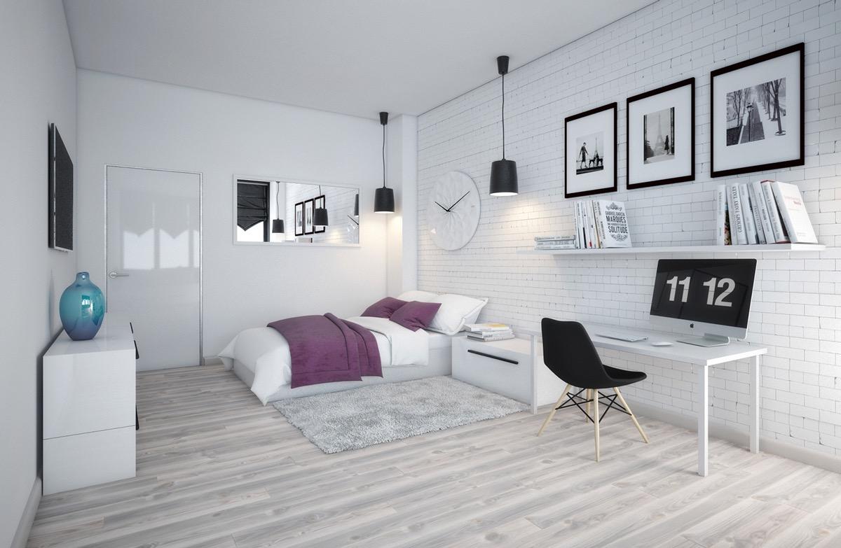 Điểm nhấn về màu sắc được lựa chọn cẩn thận và tỷ mỷ để làm tăng sức sống và sự năng động cho căn phòng màu đen trắng này.