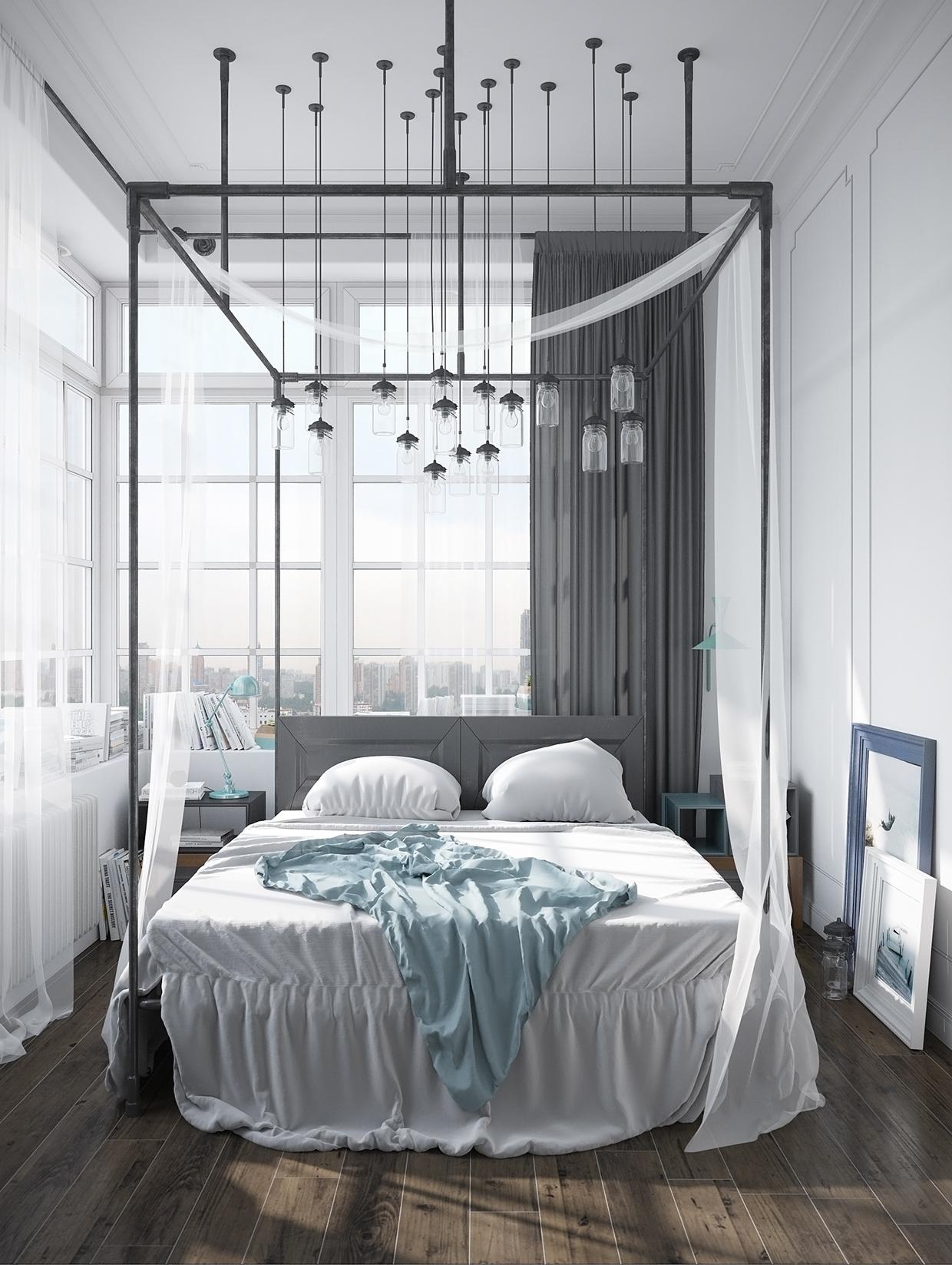 Hệ thống đèn Jar và khung giường tuy thanh nhưng chắc chắn với tone màu lông chuột