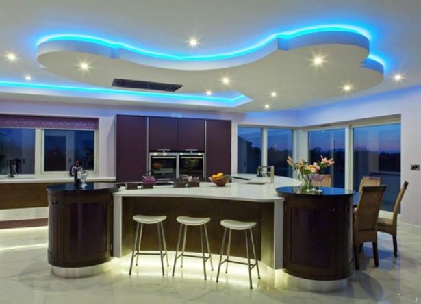 thiet-ke-tran-thach-cao-voi-den-led-mau-xanh-duong-3 Cảm hứng thiết kế trần thạch cao với đèn led màu xanh dương