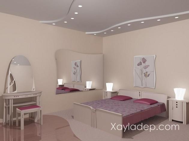 07 | Trần thạch cao phòng ngủ đơn giản với những đường lượn sóng