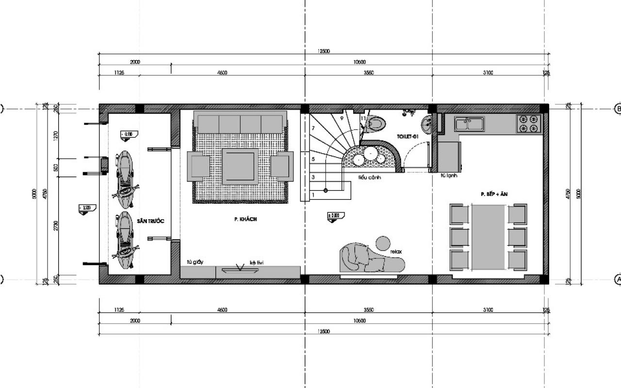 Bản thiết kế nhà ống 3 tầng mặt sàn 60m2 với kinh phí 800 triệu đồng