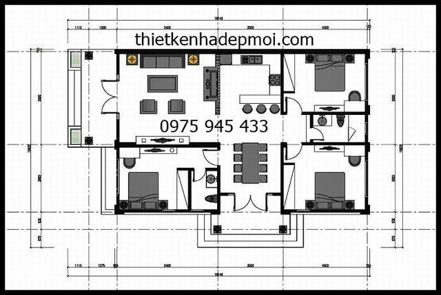 Phối cảnh mặt bằng nhà cấp 4 với 3 phòng ngủ, 1 phòng khách