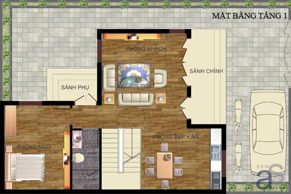 thiet-ke-nha-o-2-tang-hinh-chu-l-75m-x-6m-1 Thiết kế nhà ở 2 tầng hình chữ L 7,5m x 6m