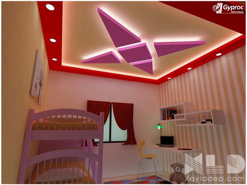 14 | Mẫu trần thạch cao phòng ngủ cho các bé thích hình họa