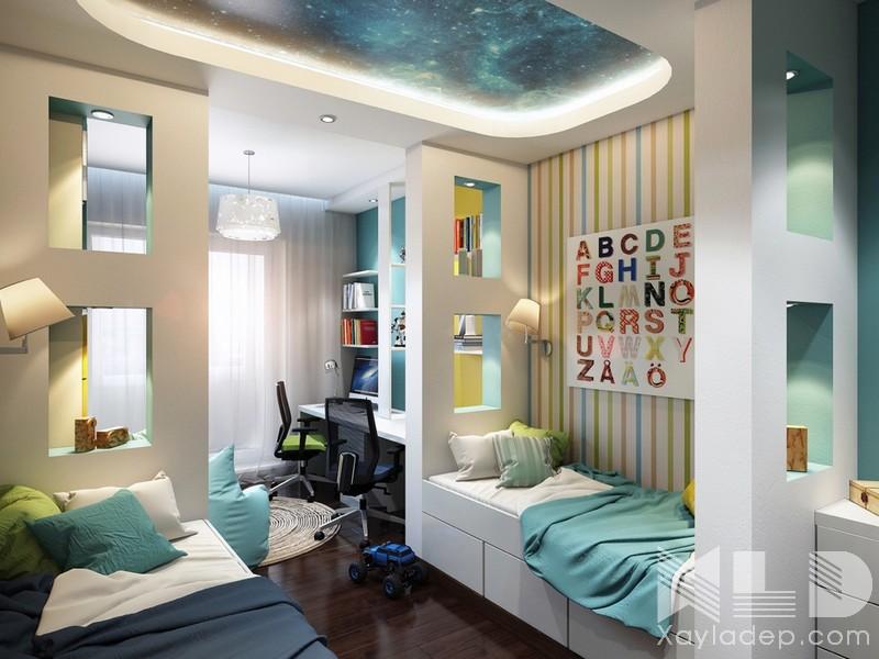 Một mẫu trần thạch cao phòng ngủ bé trai kết hợp với góc học tập