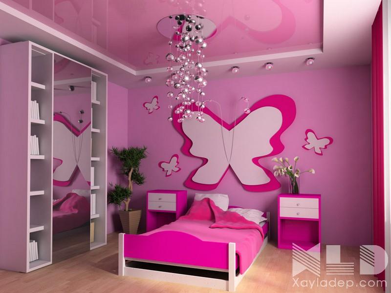 1 | Mẫu trần thạch cao phòng ngủ hình con bướm