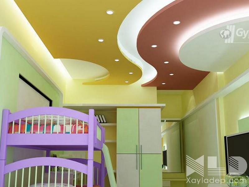 Mẫu trần thạch cao phòng ngủ trẻ em