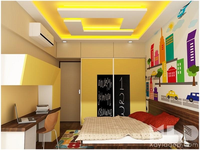 Trần thạch cao phòng ngủ trẻ em đẹp 2018