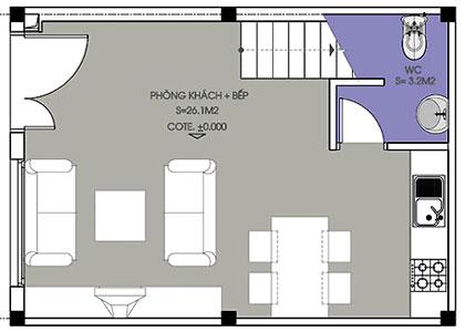 can-ho-35m2-theo-phong-thuy-1 Xây nhà 2 tầng trên diện tích mặt sàn 35m2 hợp phong thủy