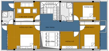 Mặt bằng tầng 2 của mẫu nhà ống 2 tầng đẹp kích thước 7,6 x 16,23 m