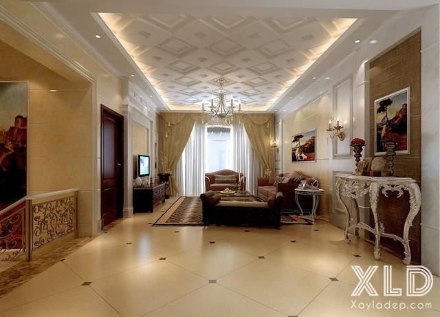 Mẫu trần thạch cao phòng khách đẹp. Ảnh 03