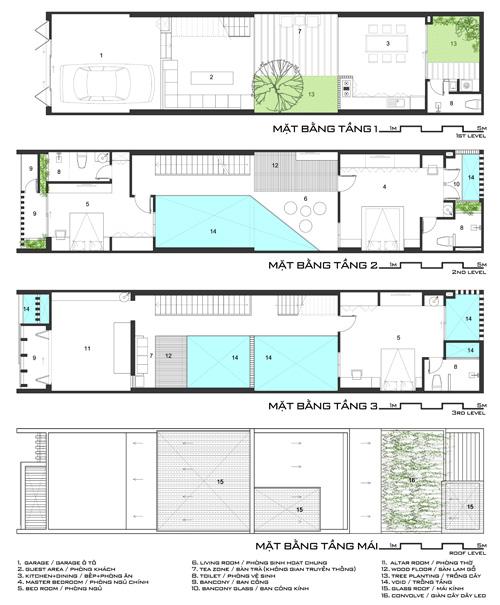 Mặt bằng của ngôi nhà. Tầng 1 gồm garage, phòng khách, phòng bếp, phòng ăn, khu vực uống trà, vườn cây. Tầng 2 gồm hai phòng ngủ, phòng sinh hoạt chung. Tầng 3 gồm phòng thờ, bàn trà, phòng ngủ. Cả ba tầng đều có nhà vệ sinh.