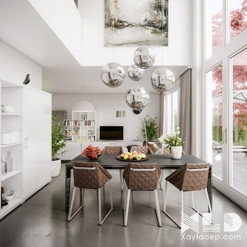 Nhà thiết kế nội thất cũng không quên trang trí cho căn phòng những chiếc ghế với họa tiết kim cương, những chiếc đèn ánh sáng hình cầu và chiếc chân ghế tinh nghịch giúp mang đến cho căn phòng 1 cảm giác thú vụ về hình học.