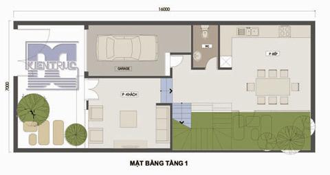 Mặt bằng tầng 1 của căn hộ bao gồm gara oto, phòng khách, phòng bếp