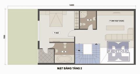 Mặt bằng tầng 2 ao gồm 1 phòng ngủ, phòng sinh hoạt chung, 2 phòng vệ sinh
