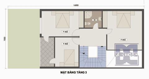 Tầng 3 sẽ bao gồm 3 phòng ngủ