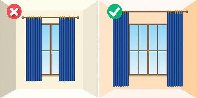 Rèm cửa nên treo sát trần cũng như sử dụng mẫu rèm kẻ dọc sẽ giúp cho chiều cao của căn phòng tăng lên đáng kể