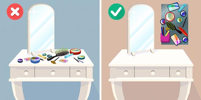 Lỗi phố biển cho chị em phụ nữ khi bày tất cả đồ trang điểm lên bàn. Bạn nên lựa chọn những món đồ hay sử dụng nhất còn lại nên sắp xếp chúng gọn hàng