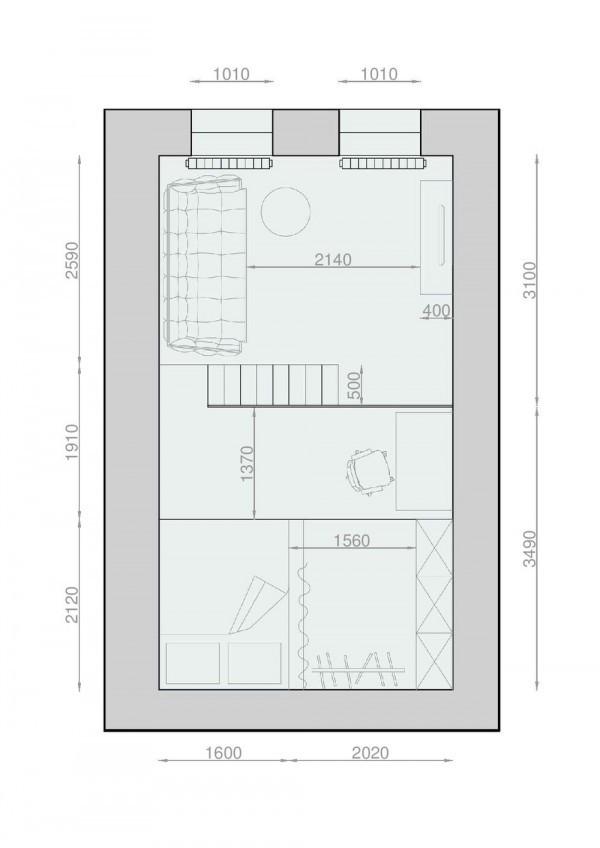 Đây là mặt bằng phần gác xép của căn chung cư 30m2