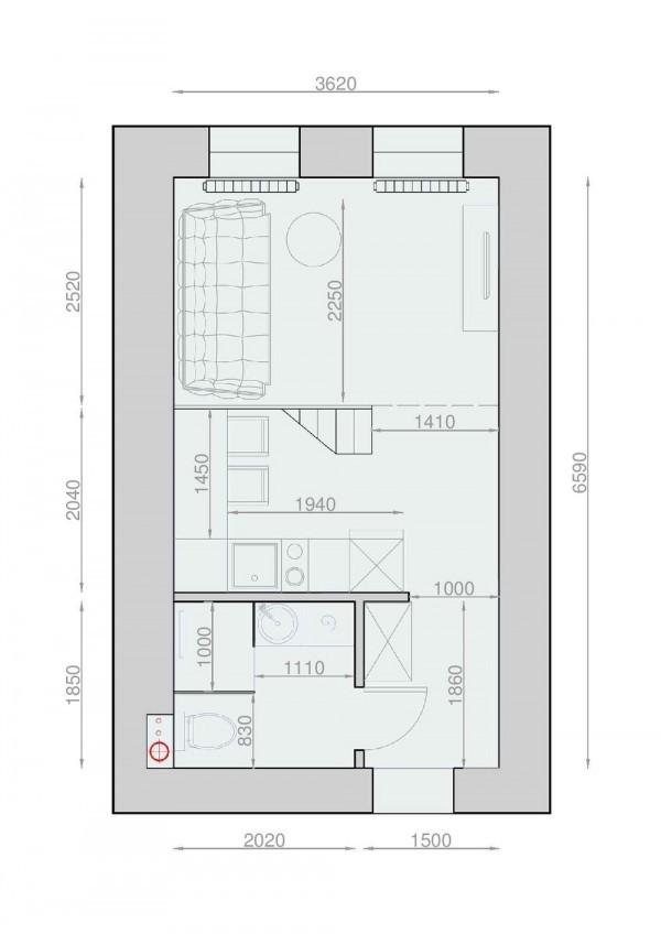 thiet-ke-noi-that-chung-cu-30m2-mau-den-15 Hô biến căn hộ 30m2 thành 40m2 cực kỳ ấn tượng