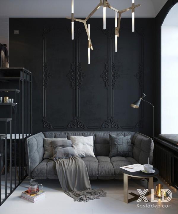 Căn hộ này được thiết kế cho 1 phụ nữ trẻ ưu chuộng phong cách tối giúp mang một bầu không khí thân mật và thanh lịch cho căn hộ