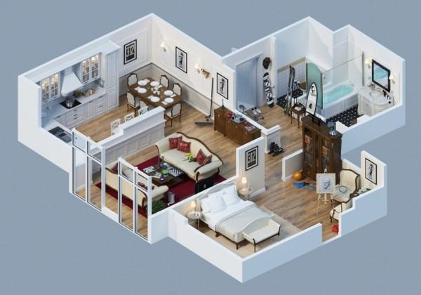 10-mau-thiet-ke-chung-cu-dep-1 10 mẫu thiết kế nội thất chung cư 3D ấn tượng chào hè 2016